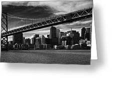 Bay Bridge And San Francisco Downtown Greeting Card