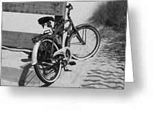 Beach Bike - Black And White Greeting Card