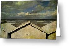 Beach Huts Under A Stormy Sky. Vintage-look. Normandy. France Greeting Card