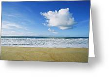 Beach, Ocean, Sky, And Clouds Greeting Card