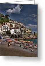 Beach Scene In Amalfi On The Amalfi Coast In Italy Greeting Card
