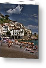 Beach Scene In Amalfi On The Amalfi Coast In Italy Greeting Card