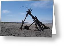 Beach Shelter Skeleton Greeting Card