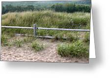 Beachside Fence Panorama Greeting Card by Chris Hill