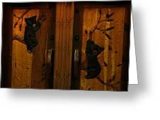 Bear Doors Carved Greeting Card