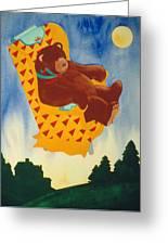 Bear Loved Flying Over The Forest In His Favorite Chair Greeting Card