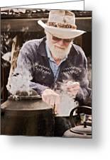 Bearded Miner Making Billy Tea Greeting Card