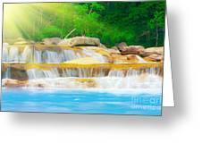 Beautiful Cascade Fall In Tropical Forest Greeting Card