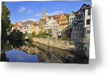 Beautiful German Town Tuebingen - Neckar Waterfront Greeting Card by Matthias Hauser