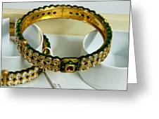 Beautiful Green And Purple Covered Gold Bangles With Semi-precious Stones Inlaid Greeting Card