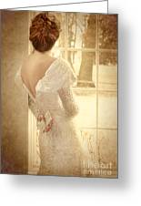 Beautiful Lady In Sequin Gown Looking Out Window Greeting Card