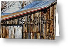 Beautiful Old Barn With Horns Greeting Card