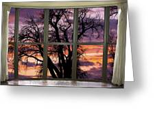 Beautiful Sunset Bay Window View Greeting Card