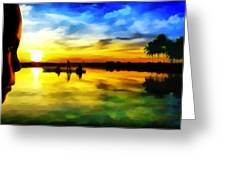 Beautiful Sunset Greeting Card by Vidka Art