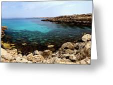 Beautiful View On Mediterranean Sea Cape Gkreko In Cyprus Greeting Card