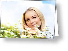Beautiful Woman Enjoying Daisy Field And Blue Sky Greeting Card by Anna Om