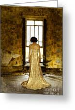 Beautiful Woman In Lace Gown In Abandoned Room Greeting Card