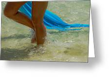 Beautiful Woman Legs In The Crystal Water Greeting Card