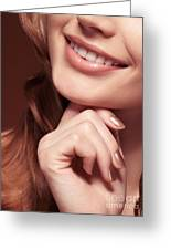 Beautiful Young Smiling Woman Mouth Greeting Card by Oleksiy Maksymenko