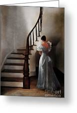 Beautiful Young Woman Standing In Gown By Stairs Greeting Card