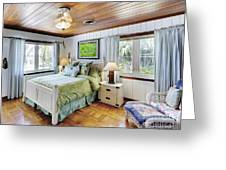 Bedroom With A Wood Ceiling Greeting Card