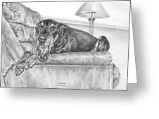 Bedtime - Doberman Pinscher Dog Art Print Greeting Card by Kelli Swan