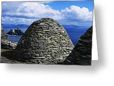 Beehive Huts At The Coast, Skellig Greeting Card by The Irish Image Collection