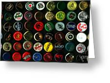 Beer Bottle Caps . 2 To 1 Proportion Greeting Card