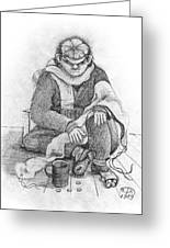 Beggar 2  In The  Winter Street Sitting On Floor Wearing Worn Out Cloths Greeting Card