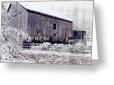 Behind The Barn Greeting Card by Kathy Jennings