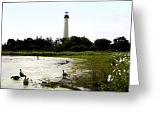 Behind The Cape May Lighthouse Greeting Card by Bill Cannon