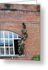 Belgian Paratroopers Rappelling Greeting Card by Luc De Jaeger