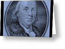 Ben Franklin In Cyan Greeting Card
