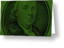 Ben Franklin In Dark Green Greeting Card