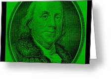 Ben Franklin In Green Greeting Card