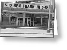 Ben Franklin Says Goodbye - Bw Greeting Card