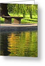 Bench And Reflections In Tower Grove Park Greeting Card
