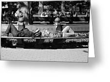 Bench Bums In Black And White Greeting Card