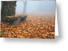 Bench In The Fog Greeting Card