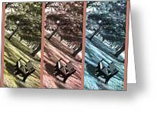 Bench In The Park Triptych  Greeting Card