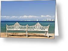 Bench On Malecon In Puerto Vallarta Greeting Card