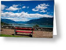 Bench With Panorama View Greeting Card