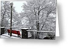 Bench With Snow Greeting Card