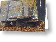 Benches And Table In Autumn Greeting Card
