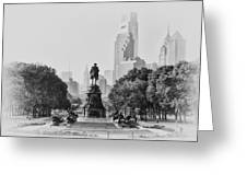Benjamin Franklin Parkway In Black And White Greeting Card by Bill Cannon