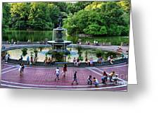 Bethesda Fountain Overlooking Central Park Pond Greeting Card