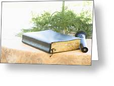 Bible And Microphone On Table Greeting Card