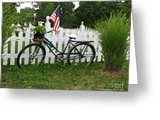 Bicycle And Picket Fence Greeting Card