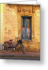 Bicycle And Window In France Greeting Card