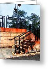 Bicycle By Train Station Greeting Card